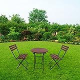 defacto - Juego de muebles de jardín de 3 piezas, mesa de balcón, sillas de terraza, plegable, mesa redonda plegable con 2 sillas plegables, grupo de asientos, muebles de balcón, color rojo y negro