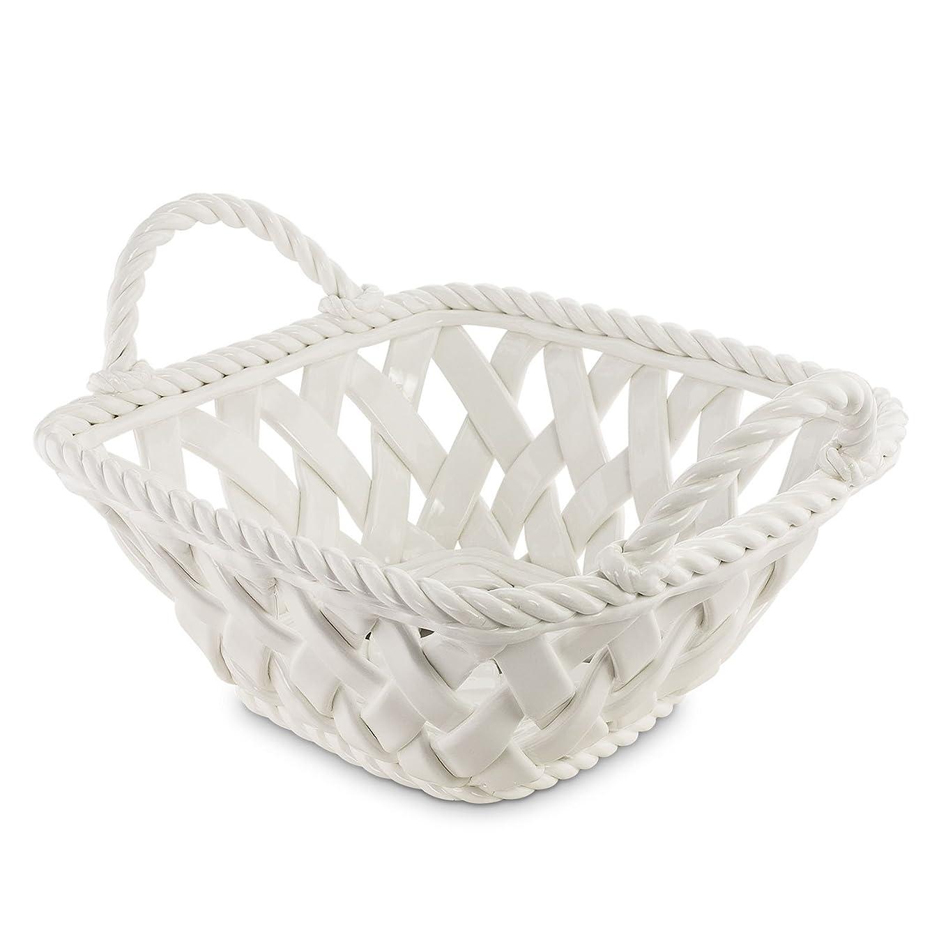 KOVOT Ceramic Woven Serving Basket - Great To Display Bread Or Fruit