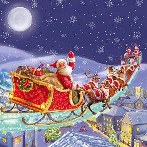20 Servietten Weihnachtsmann im Anflug   Schlitten   Weihnachten 33x33cm