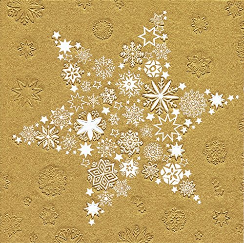 '16 serviettes étoile de Noël Or (Moments My Xmas Star gaufré Doré) Noël 33 x 33