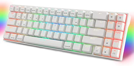 RK ROYAL KLUDGE RK71 RGB Mechanical Gaming Keyboard 71 Keys Small Compact Wireless Bluetooth Wired Mini Portable Keyboard Brown Switch-White
