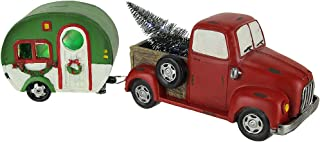 Things2Die4 Red Vintage Truck Hauling LED Light Up Christmas Tree and Camper Statue