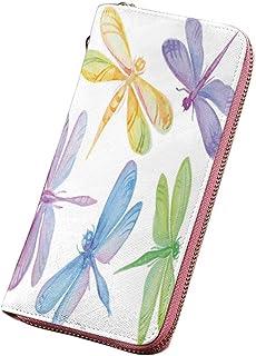 トンボ 長財布 マルチカラー 春の花と抽象的なグランジヴィンテージデザインMo花のフレームアートプリント ラウンドファスナー 小銭入れ 多色