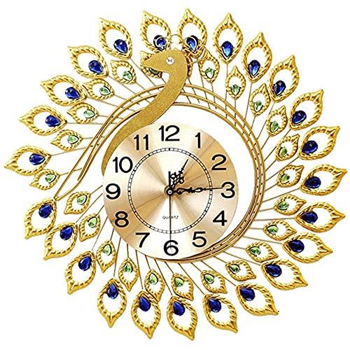 TBUDAR 58X58Cm Reloj De Pared De Pavo Real Vivir European Relojes Creativos Hogar Atmósfera Mute Reloj Electrónico Decorativas Cartas De Pared Oro Gran Reloj De Cuarzo