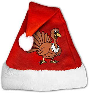 Cartoon Turkey Christmas Santa Hat Adults Kids Christmas Halloween Costume (Red)