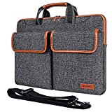 MCHENG 14' Multifunctional Canvas Laptop Sleeve Business Briefcase Messenger Bag Waterproof Protective...
