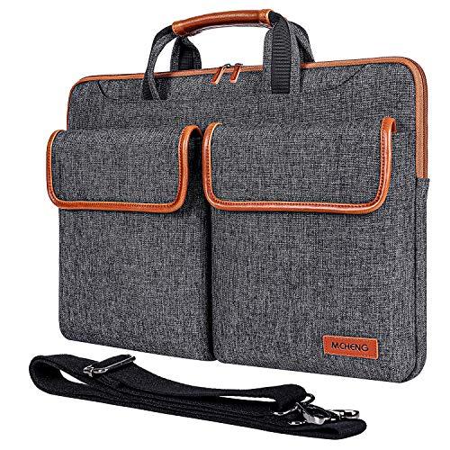 MCHENG 17-17,3 Zoll Wasserdicht Laptoptasche Schultertasche Multifunktion Laptophülle mit Verstellbarer Schultergurt und unterdrückter Griff Handtasche für Dell/Lenovo/Acer/HP/ASUS, Schwarz