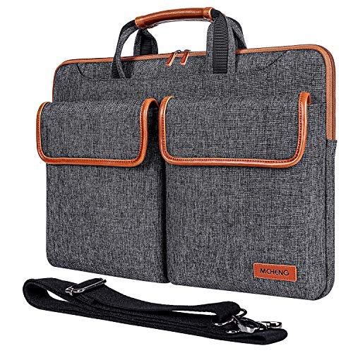 MCHENG 10.1' Multifunctional Canvas Laptop Sleeve Business Briefcase Messenger Bag Waterproof Protective Carrying Pouch for 10.1-10.5 Inch Laptops/Kids Tablet/iPad/Lenovo/Asus/Acer/HP, Black