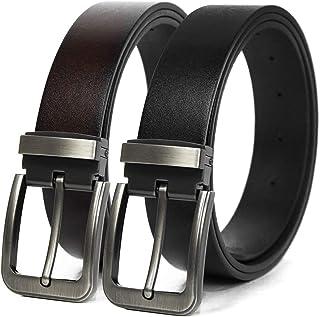WROLEM 【二本セット】ベルト メンズ ビジネス 本革 レザー バックル スーツベルト サイズ調整可能 通勤 紳士 バックル ブラック/ブラウン