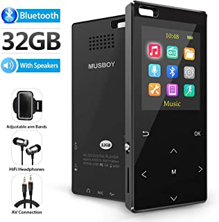 MP3 Player, 32GB MP3 Player with bluetooth4.2, Portable Lossless Digital Audio Player with FM Radio/Voice Recorder, Pedometer with an Armband, Touch Buttons, Support up to 128gb, Black
