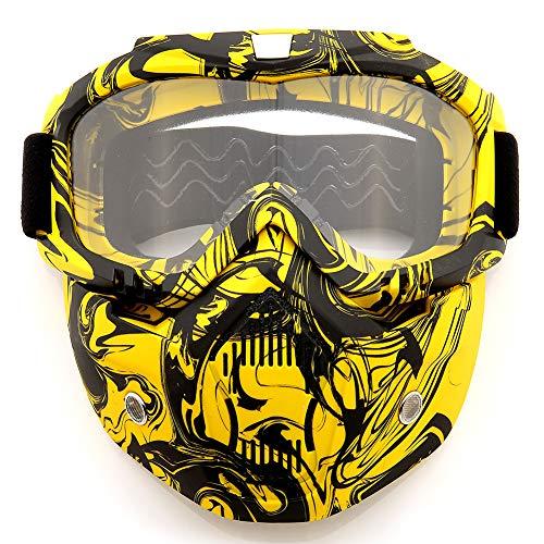 SPOSUNE Occhiali da moto rimovibili, occhiali da motocross ATV Dirt Bike Motocross MX Riding Paintball occhiali protetti dalla polvere UV400 con schiuma morbida, cinghia regolabile per uomini e donne