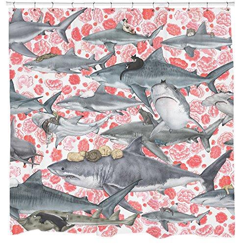Sharp Shirter Cats Riding Sharks Shower Curtain Set Floral...