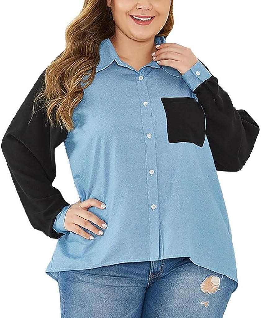 ManxiVoo Women Plus Size Turn Down Collar Stitching Denim Button Down Long Sleeve Shirt Top Patchwork Blouse