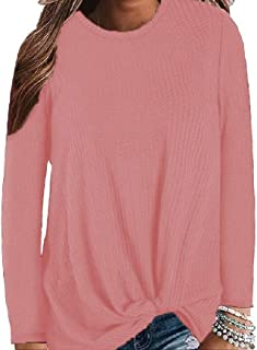 Howely Women's Casual Long Sleeve Blouse Twist Knot Knit Shirts