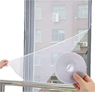 Flyzzz DIY Self-Adhesive Window Screen Netting Mesh Curtain, 100X150cm (Approach 39.37x59.05 Inches), with Hook and Sticky Tape, Fitted to Multiple Windows (5 Pack, White)