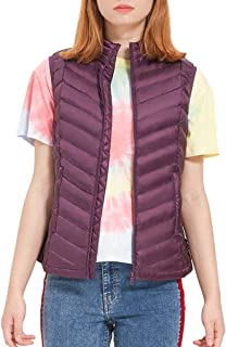 Women's Down Vest Stand Collar Lightweight Sleeveless Zipper Casual Jacket with Pockets, Three Colors Optional (Color : Purple, Size : S)