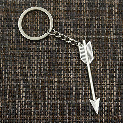 YclRpro Nuevo Llavero de 30 Mm de Moda para Hombre, Cadena de Soporte de Metal DIY, Flecha Vintage, Colgante de Bronce de 64X11 Mm, Regalo