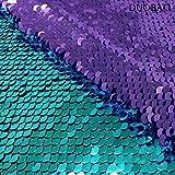 DUOBAO Wendbarer Paillettenstoff, Lavendel- bis
