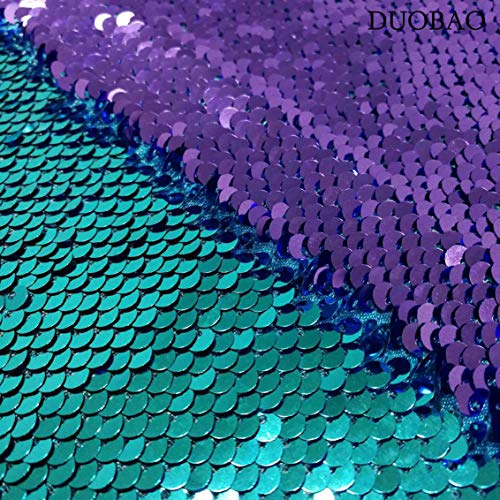 DUOBAO 2 Yards Reversible Sequin Fabric Lavender to Aqua Drop Cloth Party Mermaid Raindrop Sequin Mesh Fabric by The Yard Color Change Fabric