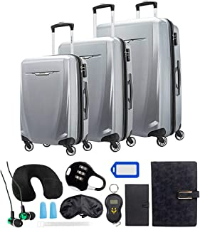 Samsonite 120751-1776 Winfield 3 DLX 3 Piece Set Spinner 20 Inch, 25 Inch, 28 Inch - Silver Bundle w/Deco Gear Luggage Acc...