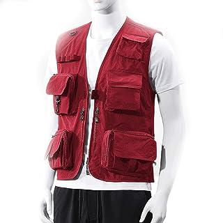 Men's vest Fishing vest Outdoor vest Thin vest Men's Quick-Drying vest (Color : Red, Size : XXL)