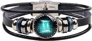 CHUYUN Retro 12 Zodiac Constellation Beaded Hand Woven Leather Bracelet PUNK Chain Cuff