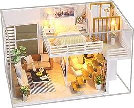 KKmoon Casa de bonecas em miniatura DIY com móveis e luzes LED Casa de boneca de madeira 3D Criativa Festivais de aniversá...