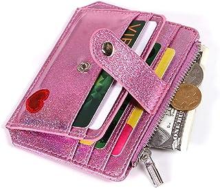 RFID Blocking Holographic Glitter Credit Card Holder Slim & Thin Card Case Minimalist Wallet for Women Girls