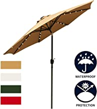 Ainfox 9ft Solar Patio Umbrella with LED Light, Steel Umbrella Ribs Waterproof Prevent Bask in for Garden, Indoor, Outdoor Use Without Base (Brown)