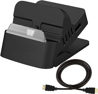switch ドック+ HDMI ケーブルセット TV出力 切り替え 直接にTV出力 小型 アダプター ドック替換 Switch ミニドック 充電スタンド 【2020改良型】 最新システム対応 四階段調整スタンド 放熱対策(1.5m HDMI ...