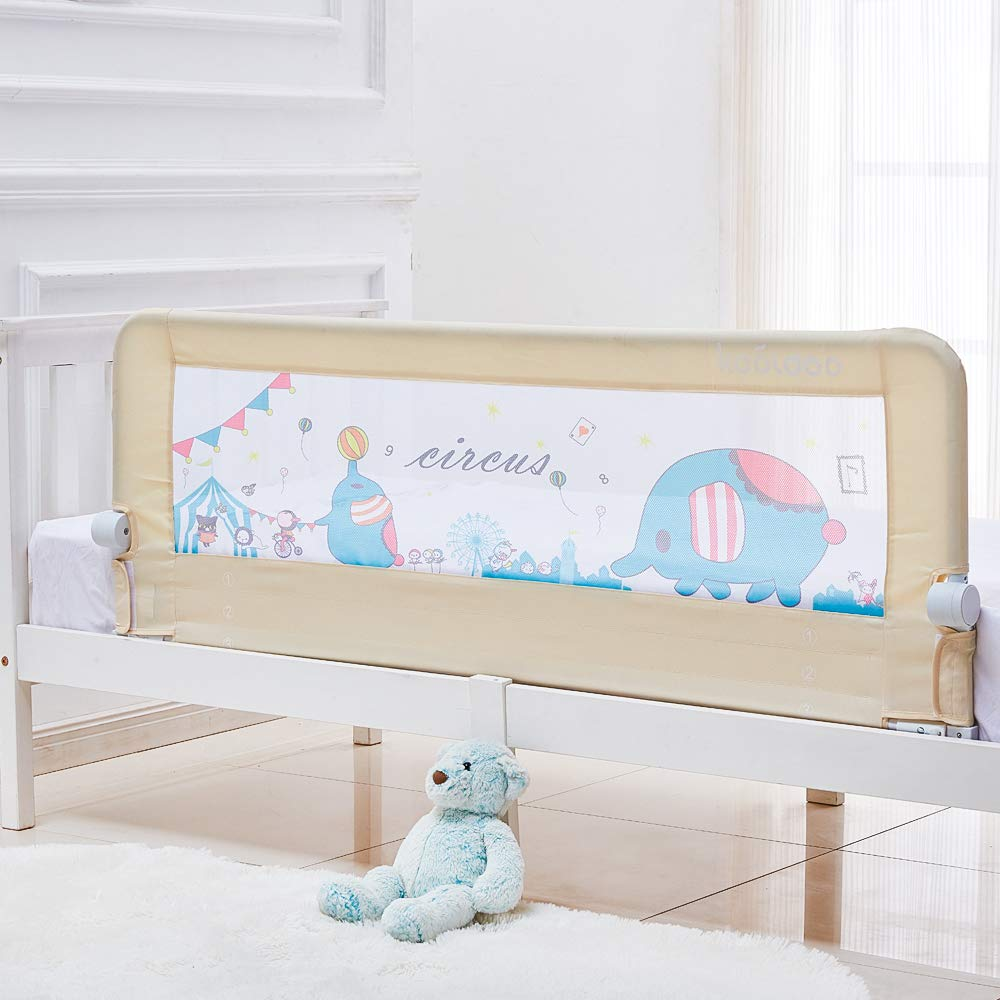 Toddler Bed Rail 59 Inch Baby Bed Rail Guard Extra Long Safety Foldable Bedrail Animal Park Theme Including 1 Pc Safety Belt (Beige Color)
