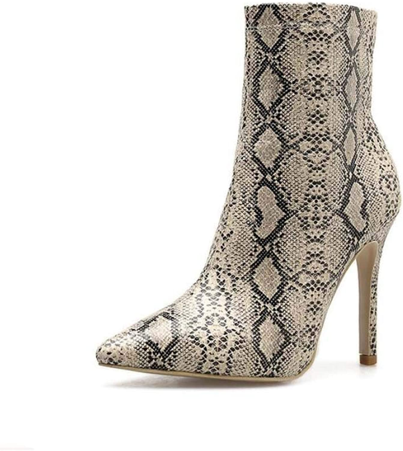 Sexy Snake Pattern Pointed Toe High Heels Ankle Bootie Women 10.5cm Stiletto Zipper Martin Boot OL Court shoes EU Size 34-40