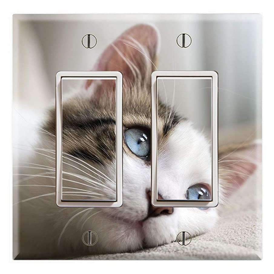 Graphics Wallplates - Cute Kitty Cat Blue Eyes - Double Rocker/GFCI Wall Plate Cover