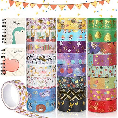 Buluri Washi Tape Set, 24 Rollos Washi Glitter Adhesivo de, Glitter Adhesivo De Cinta Decorativa Scrapbooking Diy Manualidades, Crafts,Paquete De Cintas Adhesivas Washi