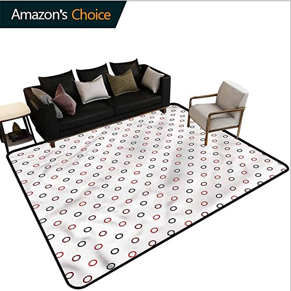 TableCoversHome Modern Moroccan Area Rug For Girls Room Retro Style Circles On White Pattern Printing Door Mat Fashionable High Class Living Dinning Room 5 X 8