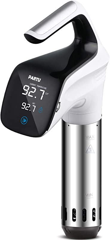 PARTU Sous Vide Food Grade Stainless Steel Sous Vide Cooker 8 2LPM Speed 850W Adjusted Clamp Anti Moist Curved Panel Dual Safety Protection With Cooking Guide