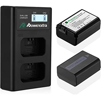 Powerextra 2 Pack Replacement Sony NP-FW50 Battery & Smart LCD Display Dual Channel Charger Compatible for Sony Alpha a6500, a6300, a6000, a7s, a7, a7s ii, a7s, a5100, a5000, a7r, a7 ii Camera
