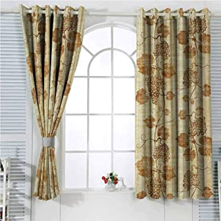 hengshu Grapes Home Decor Soundproof Curtains for Bedroom Cuisine Figure on Ancient Egyptian Papyrus Parchment Aged Crumpled Artwork Sliding Curtains for Patio Decor W72 x L84 Inch Cream