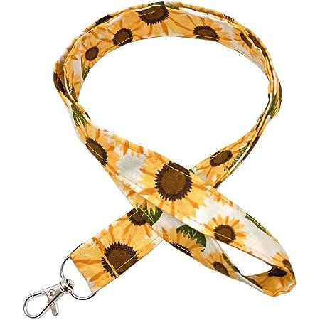 Floral Lanyard for Keys ID Badge Holder Pretty Keychain Fabric Teacher Lanyard
