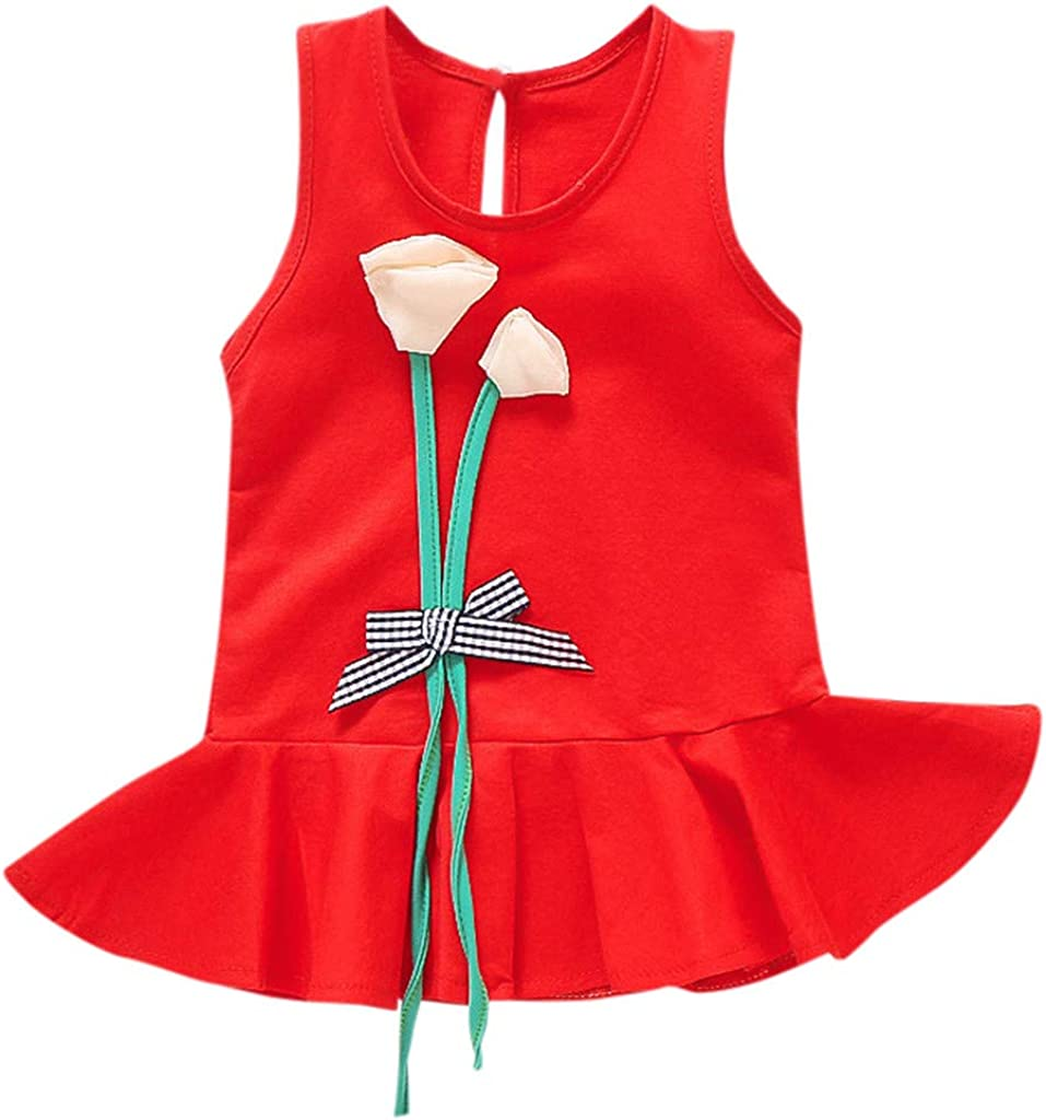 Solid Flower Dress for Toddler Kids Newborn Baby Girl Little Princess Dresses Outfits Sleeveless Skirt Costume