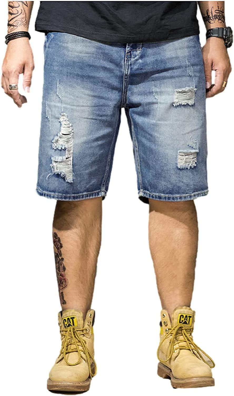 Fllaees Mens Summer Thin Denim Shorts, Slim Fit Distressed Ripped Half Jeans Pant,