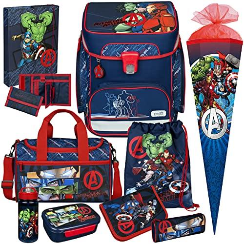 Avengers - SCOOLI Undercover EasyFit Schulranzen-Set 11tlg. mit Sporttasche, SCHULTÜTE, BROTDOSE und TRINKFLASCHE - HEFTBOX A4 und GELDBÖRSE GRATIS!