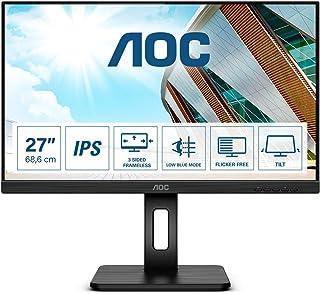 AOC Q27P2Q - Monitor QHD de 27 Pulgadas, Altura Regulable (2560 x 1440, 75 Hz, VGA, HDMI, DisplayPort, USB Hub), Color Negro