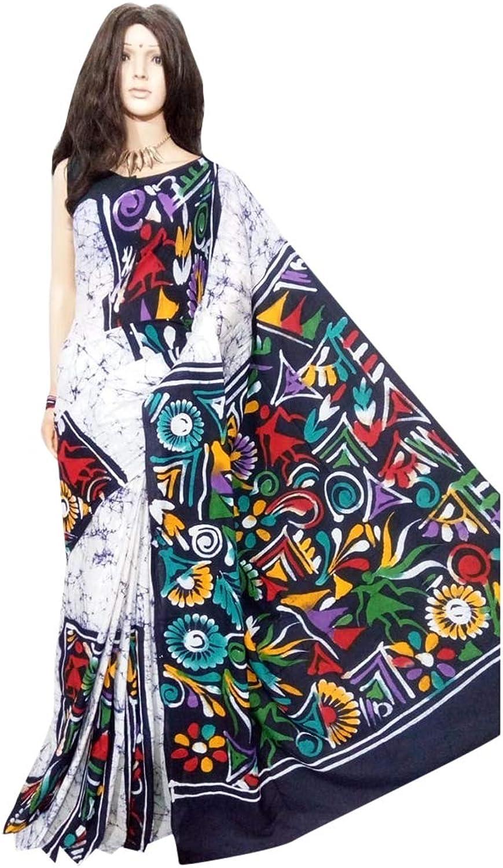 Beautiful Hand Printed Batik Cotton Saree Casual Sari Blouse Designer Women Indian Ethnic From West bengal 144a