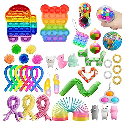 40 Stück Sensory Fidget Toys Packs, Günstige Push Bubble Pop Spielzeug Stress Angst Linderung Für Add OCD Kinder Erwachsene Squeeze Toys (#5, 1 Set)