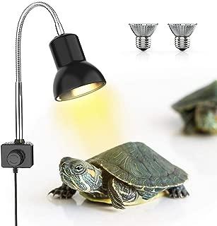 DADYPET Lámpara para Tortuga, UVA UVB,Dos Basking Iluminación de Calor de 25W, Pinza giratoria de 360 Grados y Fuente de alimentación Reptiles Acuario de Tortuga Lagarto