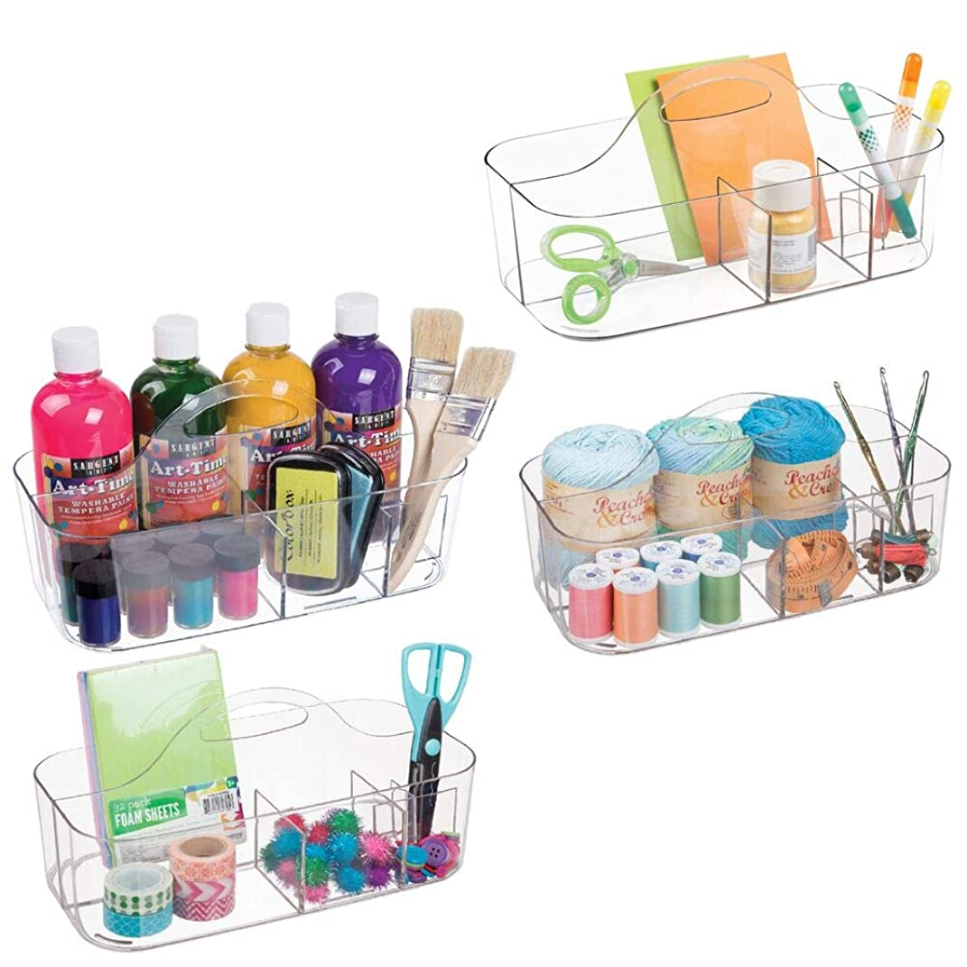 mDesign Plastic Portable Craft Storage Organizer Caddy Tote, Divided Basket Bin with Handle for Craft, Sewing, Art Supplies, Holds Paint Brushes, Colored Pencils, Stickers, Glue, Large, 4 Pack - Clear