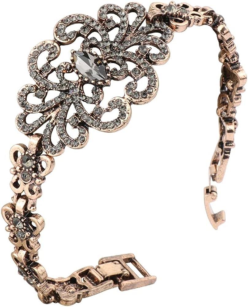 Chain & Link Bracelets for Women, Gray Crystal Flower Bracelet, Antique Gold Color Turkish for Women Girls Motivational Birthday