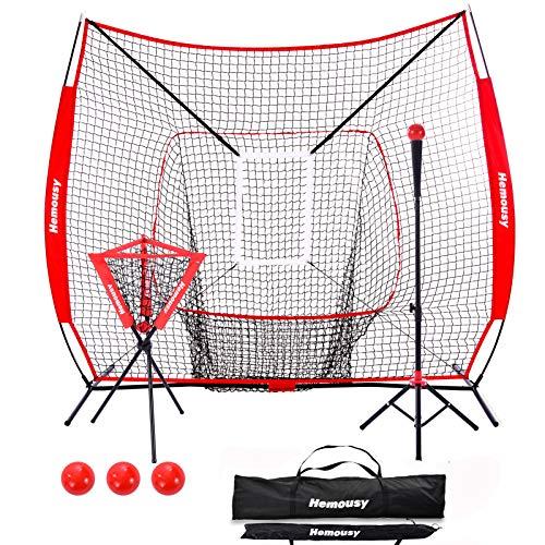 Hemousy 7×7ft Baseball & Softball Practice Net Set,Batting Net with Bow Frame,Caddy,Batting...