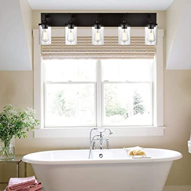 VINLUZ Bathroom Lighting Over Mirror 5 Light Metal Base Oil Rubbed Bronze Finish with Clear Cylinder Glass Shade Vanity Light